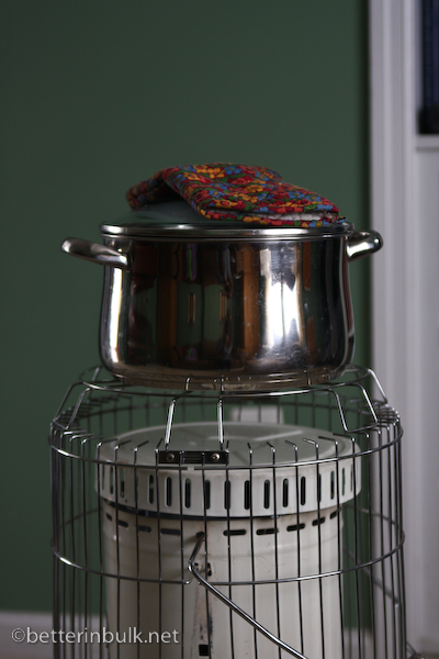 kerosene heater + pot of water = hot chocolate!