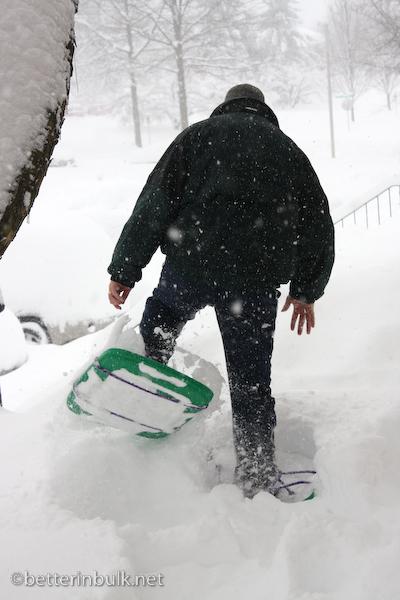 Bin lids don't make good snow shoes