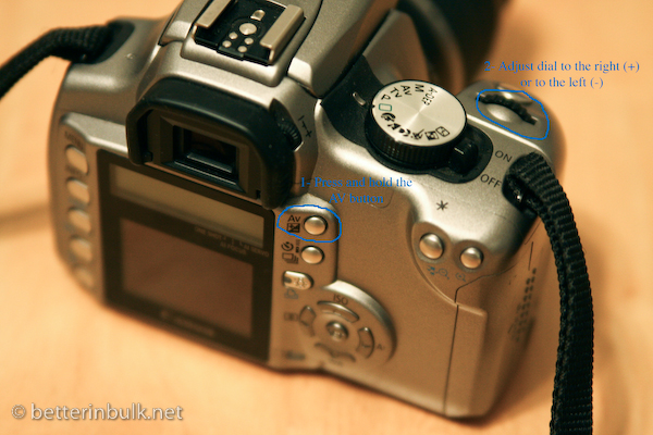 How to set exposure compensation on Canon Rebel