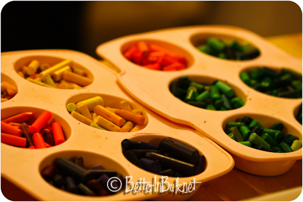 sort crayons in muffin pans