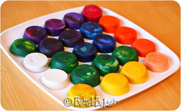 finished muffin pan crayons