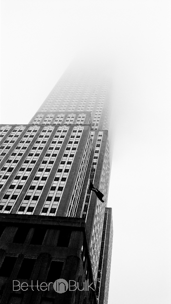 Empire state building covered in fog New York NYC