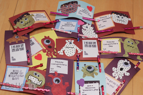 Monster Valentines Day Cards Craft tutorial