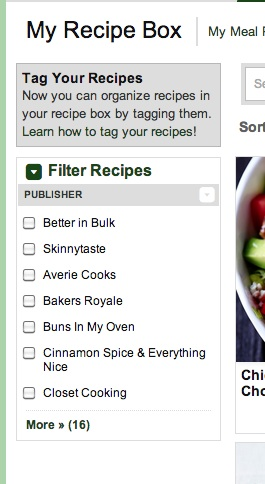 Ziplist filter recipe box