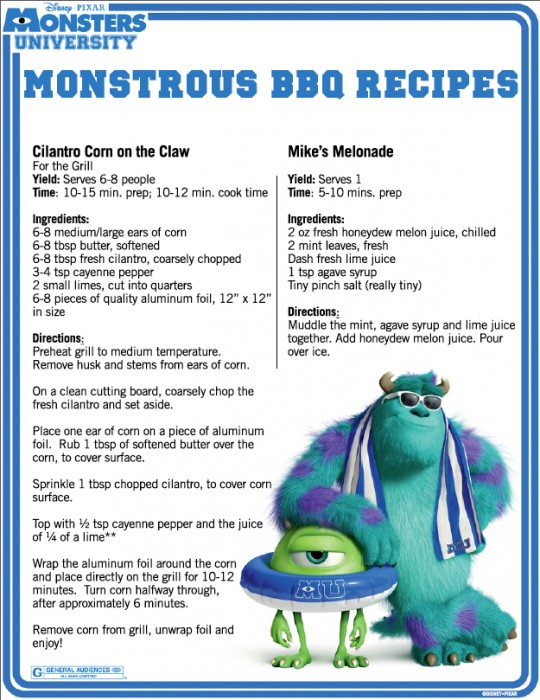 Monsters University BBQ recipes page 1