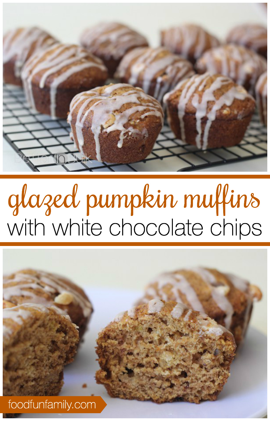 Glazed Pumpkin Muffins with White Chocolate Chips - Better in Bulk