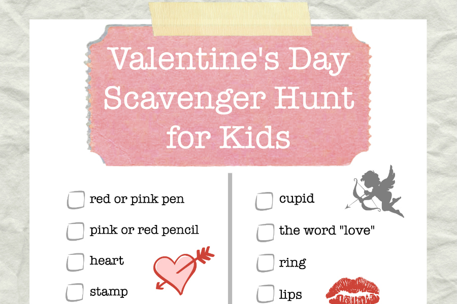 Valentine 39 s day scavenger hunt printable for kids food for Things to do on valentine s day near me