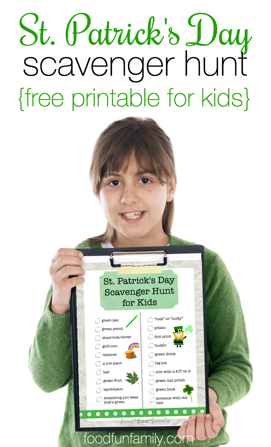 Looking for an idea for a fun activity to celebrate St. Patrick's Day with your kids? Enjoy this FREE printable St. Patrick's Day Scavenger Hunt game for Kids from Food Fun Family!